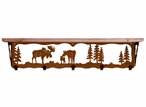 "34"" Moose Family Metal Wall Shelf and Hooks with Alder Wood Top"