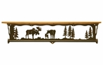 "34"" Moose Family Scene Metal Towel Bar with Alder Wood Top Wall Shelf"