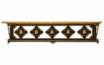 "34"" Picture Jasper Stone Metal Towel Bar with Pine Wood Top Wall Shelf"