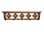 "34"" Picture Jasper Stone Metal Wall Shelf and Hooks with Pine Wood Top"
