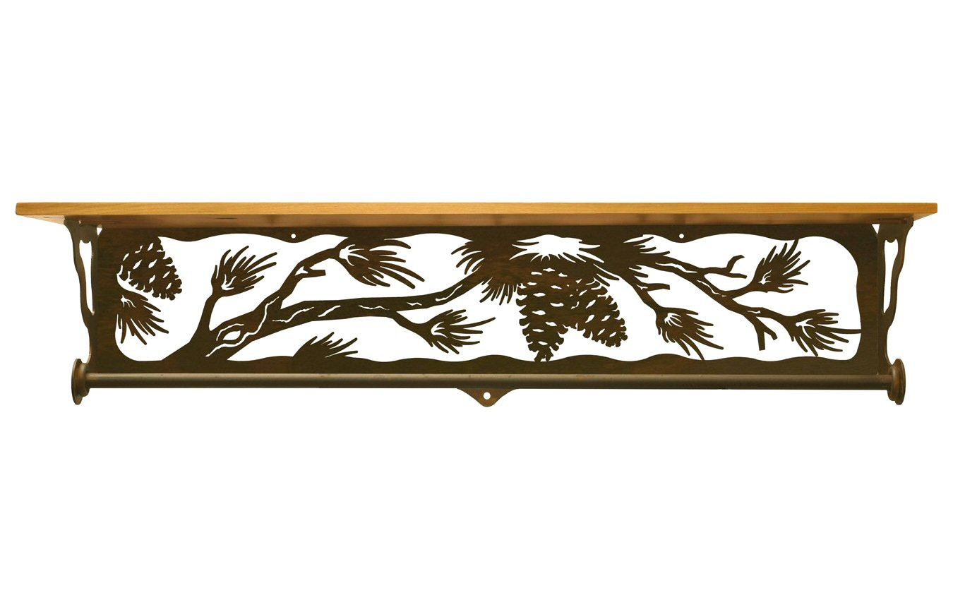 Very Impressive portraiture of  Branch Metal Towel Bar with Alder Wood Top Wall Shelf Towel Holder with #B37518 color and 1350x850 pixels