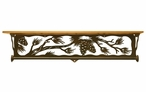 "34"" Pine Cone Branch Metal Towel Bar with Pine Wood Top Wall Shelf"