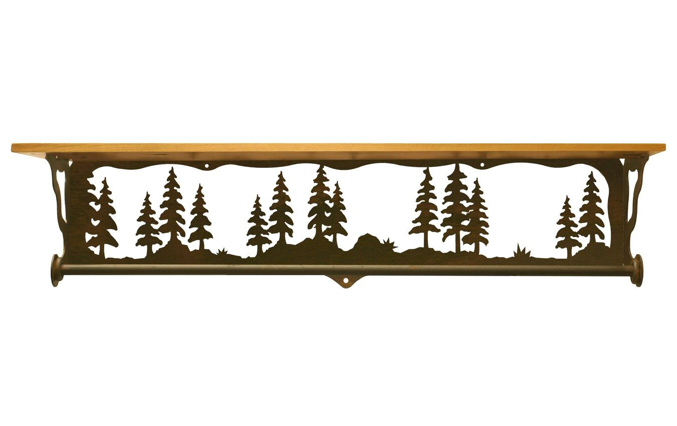 Very Impressive portraiture of  Forest Metal Towel Bar with Pine Wood Top Wall Shelf Towel Holder with #B37618 color and 1350x850 pixels