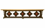 "34"" Red Jasper Stone Metal Towel Bar with Pine Wood Top Wall Shelf"