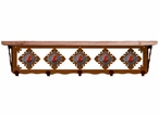 "34"" Red Jasper Stone Metal Wall Shelf and Hooks with Alder Wood Top"