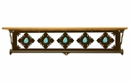 "34"" Turquoise Stone Metal Towel Bar with Pine Wood Top Wall Shelf"