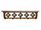 "34"" Turquoise Stone Metal Wall Shelf and Hooks with Pine Wood Top"