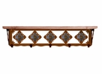 "34"" Unakite Stone Metal Wall Shelf and Hooks with Pine Wood Top"