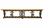 "34"" Yei Southwest Scene Metal Towel Bar with Pine Wood Top Wall Shelf"