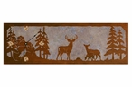"36"" Deer Family Scene Metal Wall Clock with Four Stone Options"