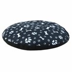 "36"" Fleece Dog Paw and Bone Black Round Pet Bed"