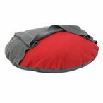 "36"" Fleece Red Round Pet Bed with Charcoal Hoodie"