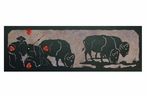 "36"" Grazing Buffalos Scene Metal Wall Clock with Four Stone Options"