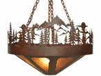 "36"" Midnight Moon with Pine Trees and Mountains Metal Chandelier"