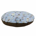 "36"" Owl Hooty Mist Putty Round Pet Bed"