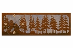 "36"" Pine Forest Scene Metal Wall Clock with Four Stone Options"