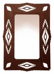 "36"" Southwest Desert Diamond Metal Wall Mirror"