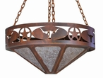"36"" Texas Star and Longhorn Steer Metal Chandelier"