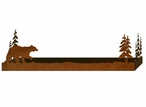 "38"" Walking Bear and Pine Trees Metal Wall Shelf with Ledge"