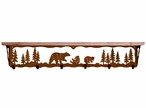 "42"" Bear Family Metal Wall Shelf and Hooks with Pine Wood Top"