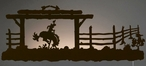"42"" Bucking Bronco LED Back Lit Lighted Metal Wall Art"