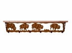 "42"" Buffalo Metal Wall Shelf and Hooks with Pine Wood Top"