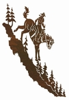 "42"" Cowboy Riding Horse Down a Mountain Metal Wall Art"