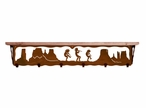"42"" Dancing Kokopellis Metal Wall Shelf and Hooks with Pine Wood Top"