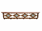 "42"" Desert Diamond & Turquoise Stone Metal Wall Shelf w/ Pine Wood Top"