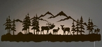 "42"" Elk Family LED Back Lit Lighted Metal Wall Art"