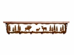 "42"" Elk Family Metal Wall Shelf and Hooks with Pine Wood Top"