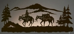 "42"" Mountain Man Riding Horse LED Back Lit Lighted Metal Wall Art"