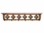 "42"" Picture Jasper Stone Metal Wall Shelf and Hooks with Pine Wood Top"