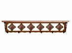 "42"" Red Jasper Stone Metal Wall Shelf and Hooks with Pine Wood Top"