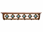"42"" Turquoise Stone Metal Wall Shelf and Hooks with Alder Wood Top"