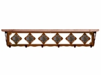 "42"" Unakite Stone Metal Wall Shelf and Hooks with Pine Wood Top"