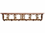 "42"" Yei Metal Wall Shelf and Hooks with Alder Wood Top"