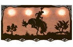 "46"" Bucking Bronco Rider Hanging Oval Metal Galley Light"