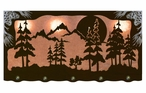 "46"" Midnight Moon & Pine Trees Scenic Hanging Oval Metal Galley Light"
