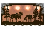 "46"" Moose Family Scenic Hanging Oval Metal Galley Light"