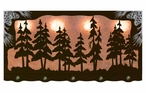 "46"" Pine Tree Forest Scenic Hanging Oval Metal Galley Light"