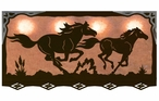 "46"" Running Wild Horses Scenic Hanging Oval Metal Galley Light"