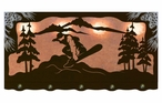 "46"" Snowboarder Scenic Hanging Oval Metal Galley Light"
