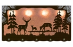 "46"" Whitetail Deer Family Scenic Hanging Oval Metal Galley Light"