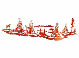 "48"" Nightfall Indian Village Metal Wall Art by Neil Rose"