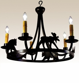 5-Light Rustic Animal Metal Chandelier - Bear, Moose, Fish