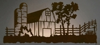 "57"" Barn Yard LED Back Lit Lighted Metal Wall Art"
