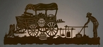 "57"" Old West Chuck Wagon Scenic LED Back Lit Lighted Metal Wall Art"