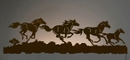 "57"" Running Wild Horses LED Back Lit Lighted Metal Wall Art"