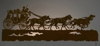 "57"" Stagecoach with Horses LED Back Lit Lighted Metal Wall Art"